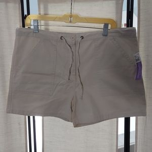 NWT Motherhood maternity tan drawstring shorts M